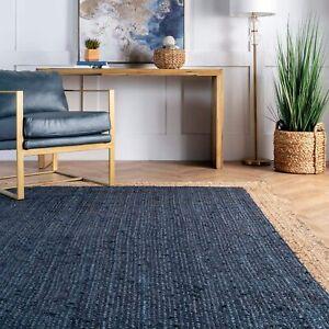 Jute Rug Natural Blue Dye Rectangle Home Decor Carpet Modern Floor Rug 9X12 Feet