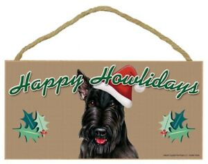 "Happy Howlidays Blk Scottish Terrier Christmas Dog Sign Gift  5""x10"" Plaque 298"