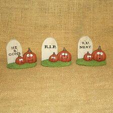Set 3 Tombstones with Jack o Lanterns Blossom Bucket Fall Figurine Suzi Skoglund