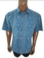 Tori Richard Hawaiian Men Button Shirt Hibiscus Geometric Tropical Floral Camp