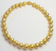 13.1mm-16.8mm Rich Golden South Sea Pearl Necklace 18INCH 14K Gold Diamond Clasp