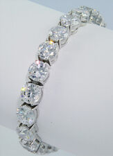 42 ct Bling Bling Bracelet Top Russian CZ Moissanite Simulant Silver 7 inch