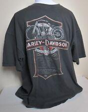 Harley Davidson Black T-Shirt Top Silver Grey Fellow Short Sleeve Men Size XL