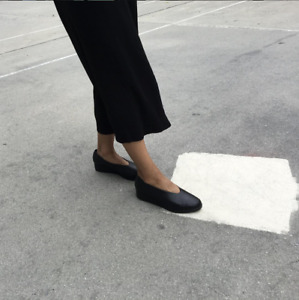 Hopp Studios hand made glove wedge comfort shoe black leather size