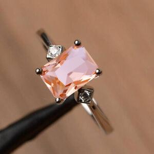 Elegant 925 Silver Women Pink Diamond Ring Engagement Wedding Gift Size 5-11