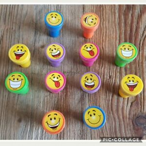12 x Smiley Face Emoji Stamps Children's Kids Party Favours Loot Student Rewards