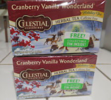 Cranberry Vanilla Wonderland Herbal Holiday Tea Celestial Seasonings lot 2 Box