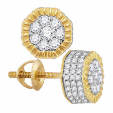 10 Quilates Hombre Oro Amarillo Diamante Redondo Acanalado Hexagonal Racimo de