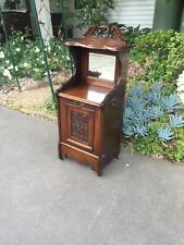 Antique Art Nouveau Oak Side / Hall Table w mirror back & Coal Scuttle!