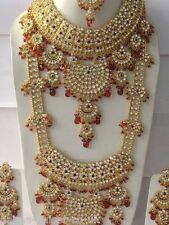 Conjunto De Novia indio chapado en oro de 8 piezas conjunto de joyas de aleación rojo transparente nuevo AQ-125
