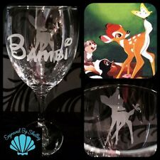 Personalised Disney Bambi Wine Glass Custom Handmade & Free Name Engraving!