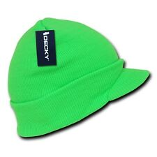 Neon Green Solid Campus Visor Jeep Skull Knit Winter Beanie Cap Caps Hat Hats