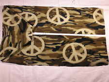 Camoflague with Peace Signs Brown Fleece Scarf