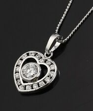 18k White Gold Filled heart CZ Bridal Wedding chain Necklace Woman N-A312