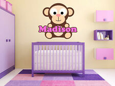 """Brown Monkey Name Monogram Baby Girls Room Vinyl Wall Decal Graphics 22"""" Tall"""