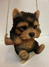 5� Yorkshire Terrier Yorkie Puppy Swing on Macrame Branch w Jute String Pet Pal