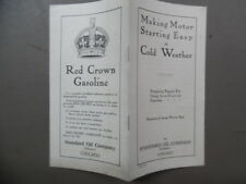c.1915 Standard Oil Red Crown Gasoline Advertising Booklet Cold Weather Starting