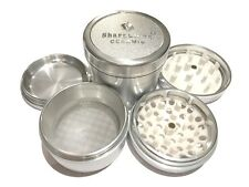 "Sharpstone Ceramic 2.5"" Inch Hard Top Herb and Tobacco Grinder 4pc Large Silver"