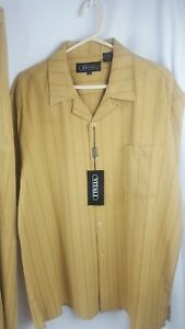 Vitali Men's 2 pc Suit XL 38/34 Yellow Red Stripes NWT Vtg Dress Shirt Pants