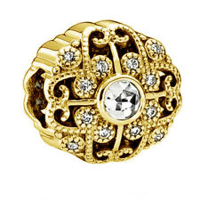 Genuine PANDORA Fairytale Bloom Charm 14K Gold Plated 791961CZ Vermeil