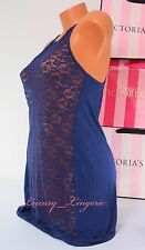 NWT VICTORIA'S SECRET VS Lingerie Lace Modal Babydoll Unlined S Small Navy Blue