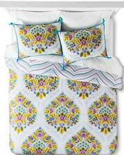 Boho Boutique Indie Flower Floral 3 PC KING DUVET COVER  Set  NEW GRAY WHITE