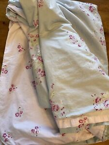 Simply Shabby Chic TWIN DUVET Faded Paper Rose Blue Pink Floral Flower Cottage
