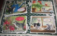Susan Bourdet 4 Cat Birthday Cards Christian Flowers New FREE Ship on$15min