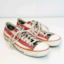 Converse All Star Mens 8.5 Canvas Low Top Distressed Red White Blue Flag Lace Up