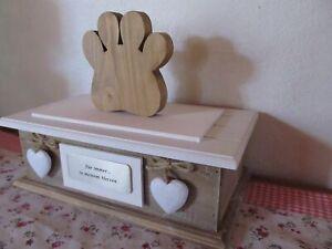 Tierurne Urnenbox Urne Holz Alu Pfote Herz Katze Hund Spruch und Wunschname neu