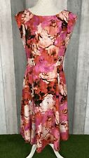 Laura Ashley Pink Floral Silk Blend A-Line Midi Dress Size 12