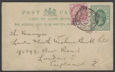 Cape of Good Hope QV 1/2d postal card uprated 1d used 1898 to England
