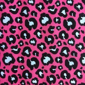 NEW! PolyCotton Pink White Black Leopard Animal Print Material Crafts
