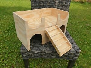 Guinea Pig House Shelter Hide Out Castle two tiered play hideaway improved ramp