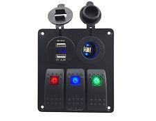 IZTOSS led 3 gang DC12V/24V switch panel with led power socket 4.2A dual USB vol