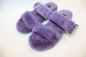 Ladies UGG AUSTRALIA Purple Fluffy Slip On Sandals UK 6 - P14