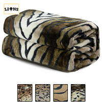 ANIMAL SKIN PRINTED THROW Faux Fur Mink Blanket Warm Cosy Sofa Bed Double king