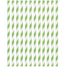 Stripe Paper Drinking Straws Green Deluxe Vintage Retro Birthday Wedding UK 24