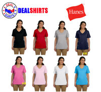 Hanes Ladies' Tagless V-Neck T-Shirt-5780