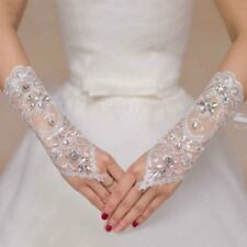 Formal Bride Bridal White Short Gloves Wedding Party Gloves Beads Lace Hollow