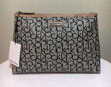 CALVIN KLEIN Cosmetic Case CK Logo Large Make Up Travel Bag Almond Navy NWT $68.