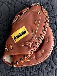 1990's Franklin Softball Catchers/1B Mitt Model #4991. Worn On Left Hand. Nice!