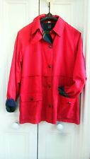 Ski Jacket cherry red cotton poly mix with tartan lining size14 easy fit