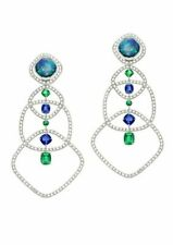 (60mm)Blue Green Cushion White Earring Anniversary 925 Sterling Silver Solid