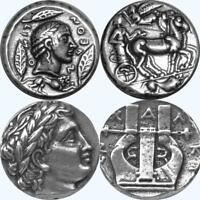 Apollo & Charioteer, Apollo & Lyre, 2 Greek Coins, Percy Jackson Fans (27+30-S)