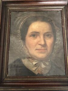 ANTIQUE EARLY AMERICAN OIL PORTRAIT LADY Period Frame Federal 18th Century