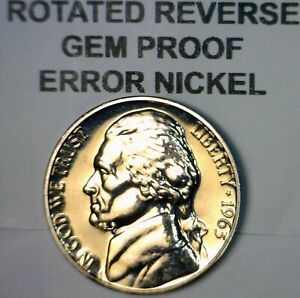 1963 ERROR ROTATED REVERSE Jefferson Nickel GEM PROOF Coin LOT #63  NR