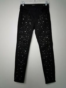 Buffalo David Bitton Women Black Denim Beaded Skinny Jeans Pants Size W27 C9