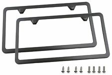 LFPartS Slim Style Polished Stainless Steel License Plate Frame Gunmetal Black Finish .