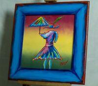 Umbrella Girl Painting Pop Art Artist Signed Mira Wood Painted Frame COA